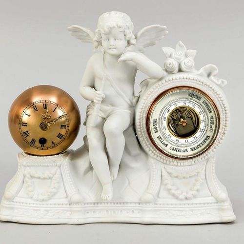 Ball table clock with barometer on bisque porcelain, depiction of an angel with …