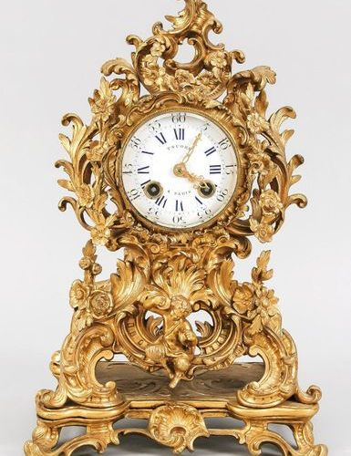 French. Bronze table clock, 1st half 19th c., marked TSUORB, a Paris, gilded cas…