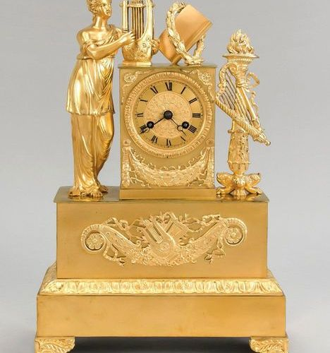 Empire pendulum, 1st half of the 19th century, fire gilded, standing woman with …