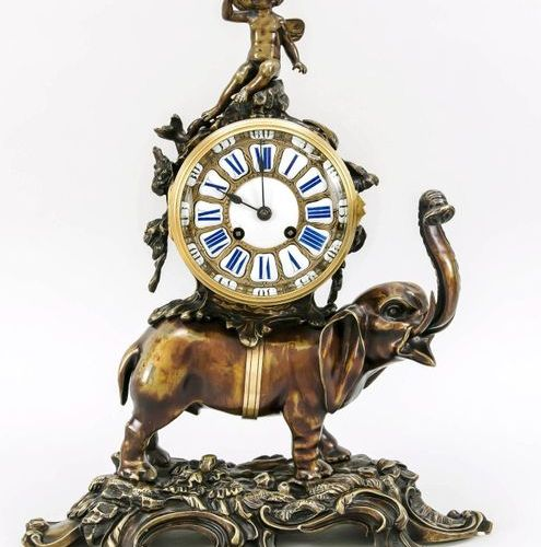 Bronze pendulum with elephant carrying the clock drum, 2nd half of 19th c., crow…