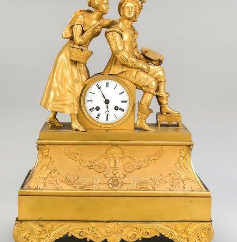 Fire gilded figure pendulum, France 1st h. 19th c., polished/satinized, depictin…