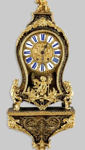 Boulle style console clock, 2nd half 19th c., marked Renard aParis, with applied…