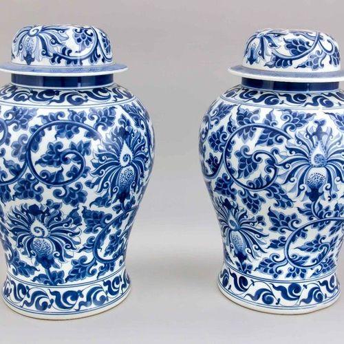 Pair of large lidded vase lamp bases, China, 20th c. Cobalt blue underglazed dec…