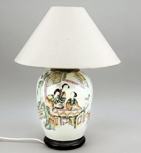 Famille rose vase mounted as a lamp. Vase: China, c. 1900. Domestic scene with a…