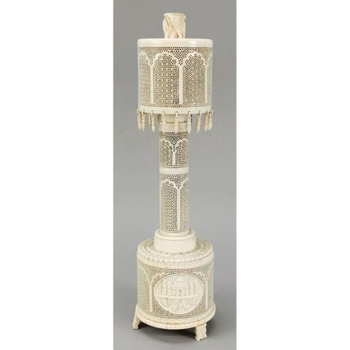 Table lamp, India, ivory. Multiple openwork (in the manner of Jali windows). Cyl…