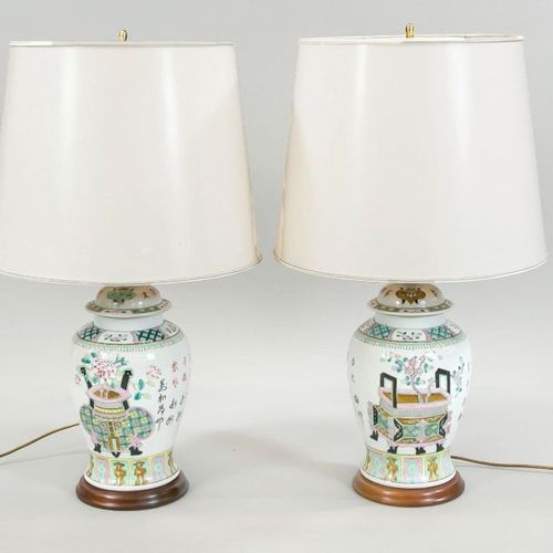 Pair of vase lamps, 20th c., Famille Rose lidded vases as lamp bases on fluted w…
