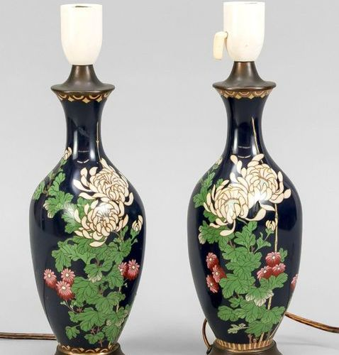 Pair of cloisonné lamp bases, Japan, end of 19th c., lightly pressed bottle vase…