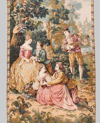 Historicism tapestry, 20th c. Multi figure gallant scene in landscape garden. Bo…