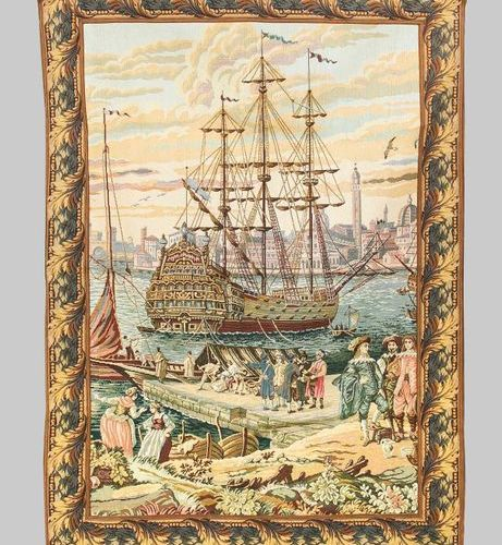 Historicist tapestry, 20th c. Multifigure harbor scene with large sailing ships.…