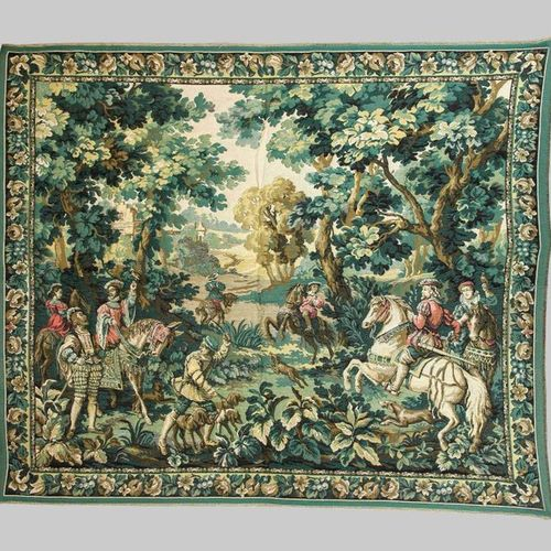 Hunting tapestry, 20th c. Multi figure hunting scene in mixed forest. Floral vin…