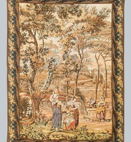 Historicism tapestry, 20th c. Scene with people fetching water at a fountain in …