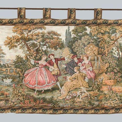 Historicism tapestry, 20th century. Multi figure gallant scene in Arcadian lands…