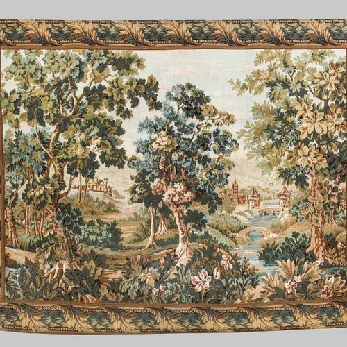 Historicism tapestry, 20th century, Arcadian landscape with castles and palaces.…