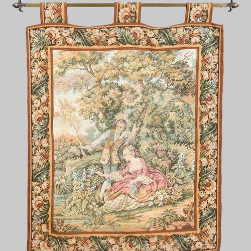 Historicism tapestry, 20th c. Gallant scene in landscape garden. Border with flo…