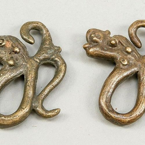 Pair of earrings in the shape of mythical creatures of the Dayak, Borneo, probab…