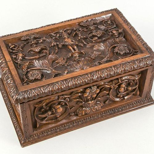 Carved lidded box, late 19th century, walnut? Rectangular shape with hinged lid,…
