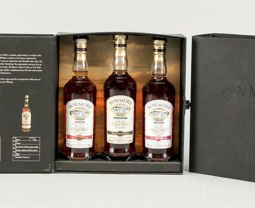 3 bottles of Wiskey in OK, 20th century, marked ''Bowmore Islay Single Malt Scot…