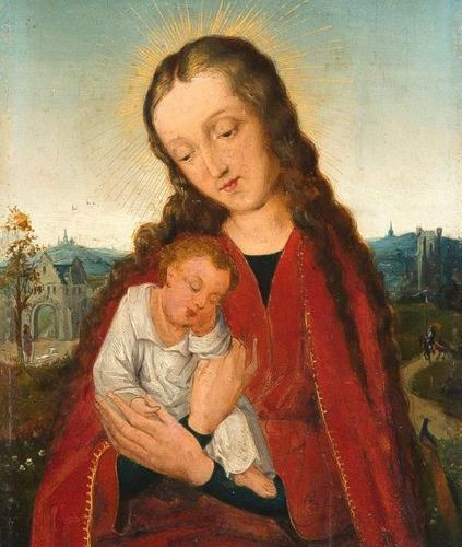 Unknown painter of the 18th century, Madonna with the Child, after an Old Dutch …