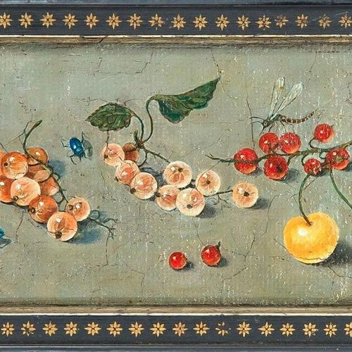 Unknown painter of the 18th century, still life with currants, cherries and inse…