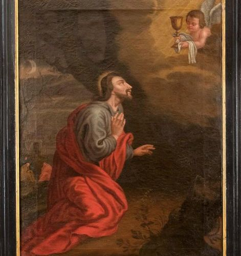 German sacral painter of the 18th century, Christ kneeling on the Mount of Olive…