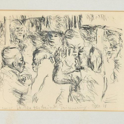 Signed Esser, 1st half 20th c. Group of men in conversation, chalk lithograph, s…