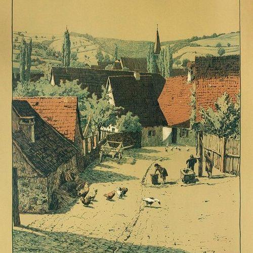 Friedrich Kallmorgen (1856 1924), Dorfstraße, large color lithograph on greenish…