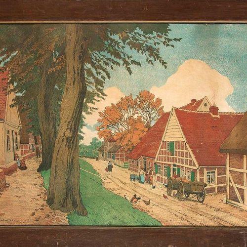 Friedrich Kallmorgen (1856 1924), ''Holsteiner Dorfstraße'', large color lithogr…