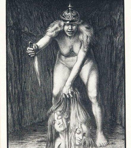 Carlos Schwabe or Schwab (1866 1926), ''The War'', rare chalk lithograph on wove…