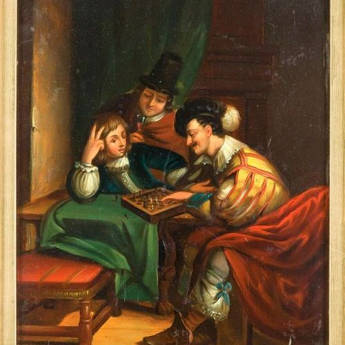 Genre painter of the 20th century, three men playing chess in the style of the 1…