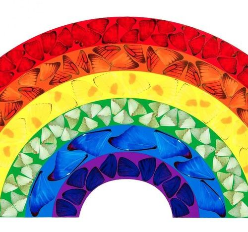 Damien Hirst (*1965), ''Butterfly Rainbow'', laminated giclée print on alu dibon…