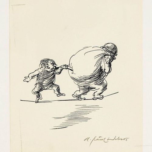 A. Paul Weber (1893 1980), Child stabs into a sack thrown over his shoulder by a…