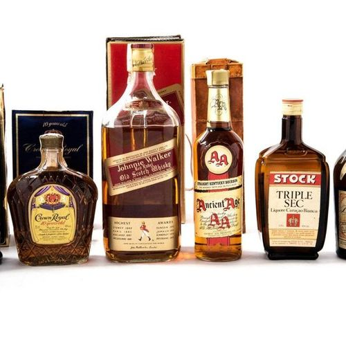 Lot of six bottles of whiskey and spirits Johnnie Walker Red Label Old Scotch Wh…