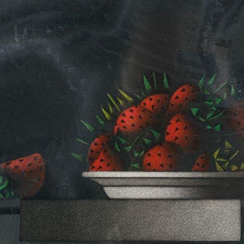 Mario AVATI (1921 2009) Des fraises au nois d'aout color lithograph on paperedit…