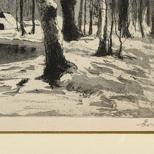 """""""Winter in the woods"""" and """"English landscape""""20th century etching and aquatint o…"""
