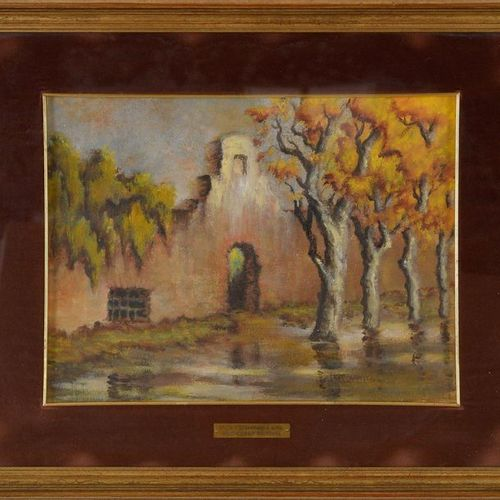 Milo Corso Malverna (XX secolo ) Climb San Sebastiano in Rome oil painting on ca…