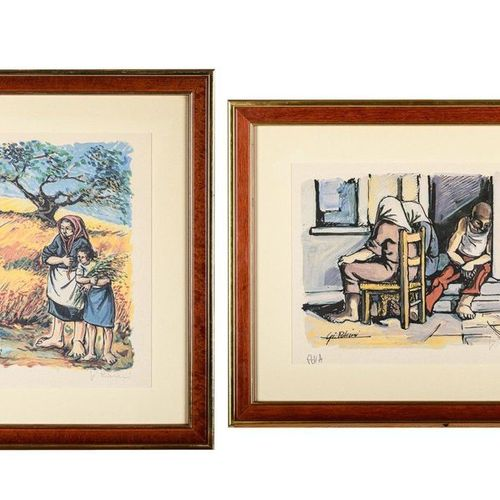 Lot of two multiples20th century color lithograph on paperp.D.A., signed in penc…