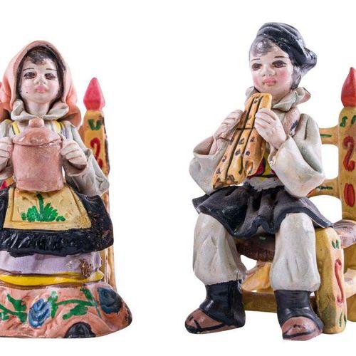 Lot de deux sculptures en terre cuite A. MassiddaFabrication sarde, seconde moit…