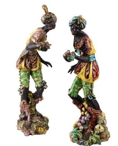 Paire de sculptures représentant les Maures vénitiensFabrication toscane, années…