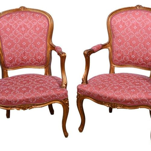 Pair of carved and gilded wooden armchairsCantù manufacture, mid 20th century Up…