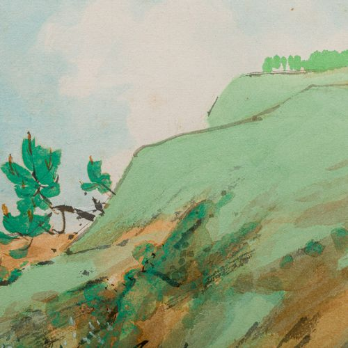 Glimpse of the countryside with ox watercolor and ink on cardboard, signed, fram…