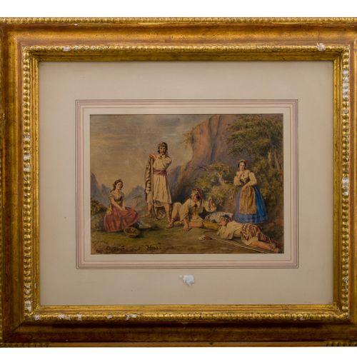Henry Melling, Greek bandits nineteenth century, watercolor on paper with traces…