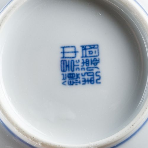 Six cups and six saucers in porcelain, Kangxi style blue decorations on a white …