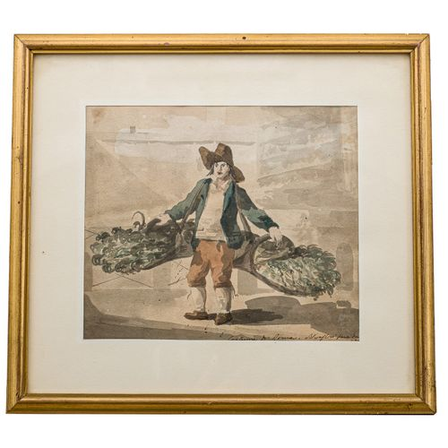 Costume of Rome early 20th century, watercolor on paper, signed on the back, fra…