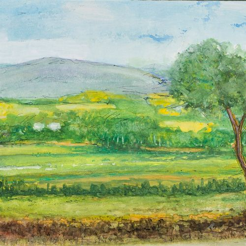 Country landscape watercolor on paper, framed, signed, 30 x 20 cm