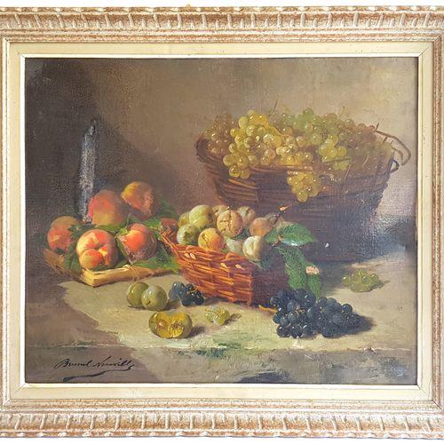 Alfred BRUNEL de NEUVILLE (1852 1941)  Nature morte aux fruits  Huile sur toile …