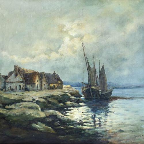 Marguerite LAMARE (École du XXe siècle)  Voilier amarré  Huile sur toile signée …