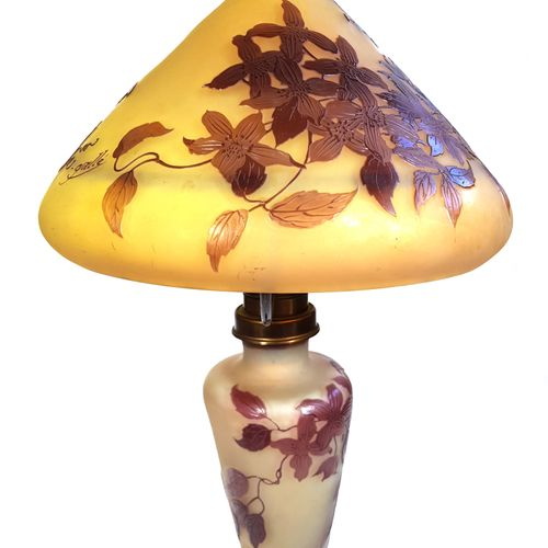 ÉTABLISSEMENTS GALLÉ (1904 1936)  « Clématites »  Lampe de table dite champignon…