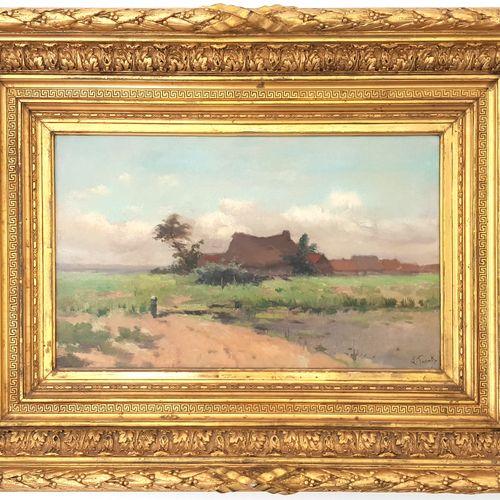 Lucien FRANCK (1857 1920)  Paysage aux chaumières  Huile sur toile signée  32,5 …