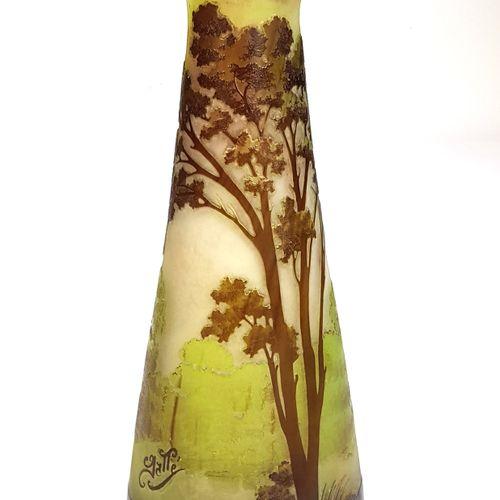 ÉTABLISSEMENTS GALLÉ (1904 1936)  « Paysage lacustre »  Vase piriforme à col éva…