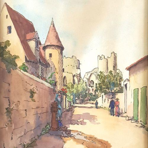 J. CORBINEAU (École du XXe siècle)  Village médiéval, 1956  Encre et aquarelle s…